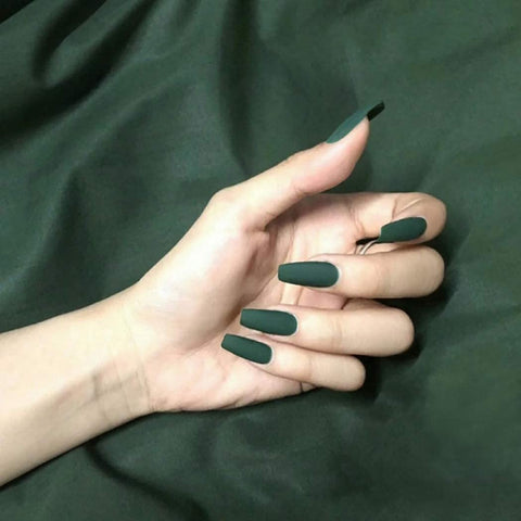 """Simple collection"" Dark Green Matte Ballerina ""Ready to Ship"" - TheNailsClub"