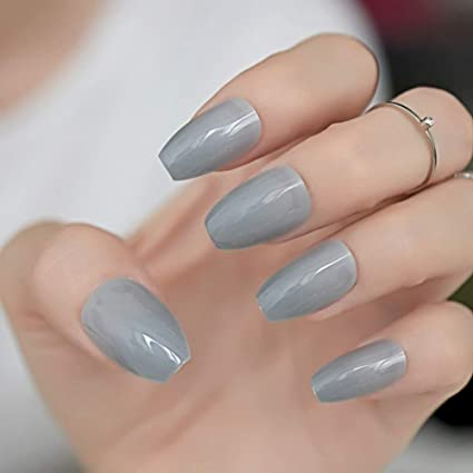 """Simple collection"" Grey Medium coffin *Ready to Ship* - TheNailsClub"