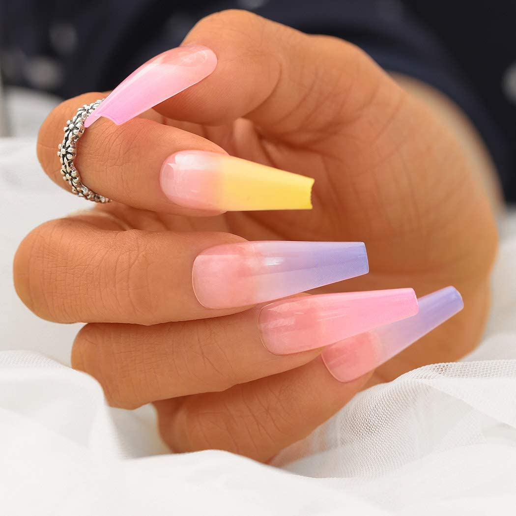"Ombre Multi Colour Long Ballerina ""Ready to Ship"" - TheNailsClub"
