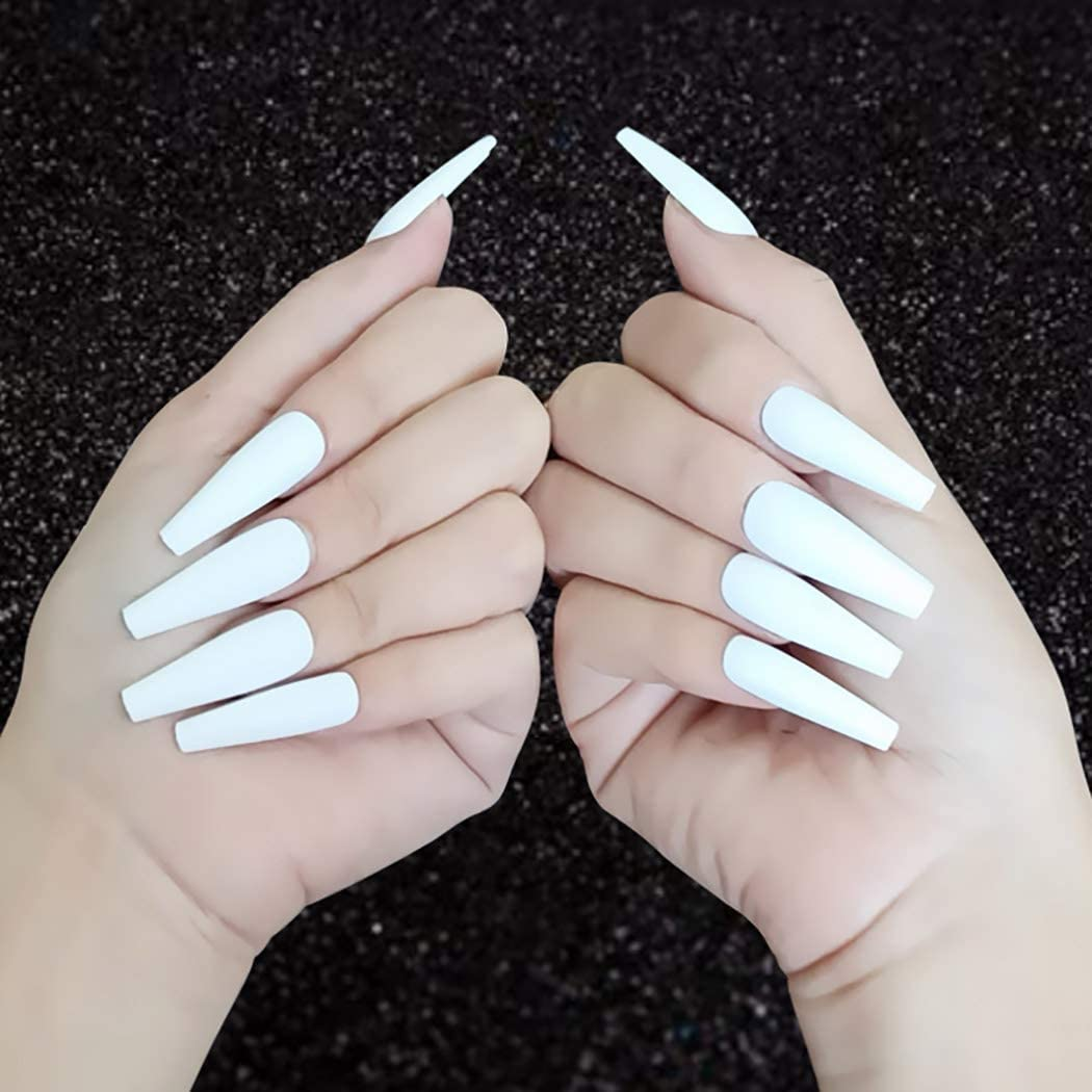 "White Matte Long Ballerina ""Ready to Ship"" - TheNailsClub"
