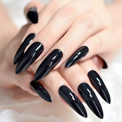 "Black Extra Long Stiletto ""Ready to Ship"" - TheNailsClub"