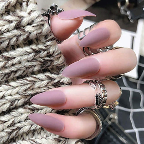 """Simple collection"" Mauve matte Stiletto ""Ready to Ship"" - TheNailsClub"