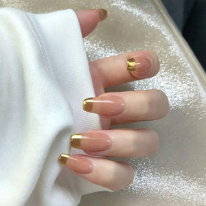 "Golden Girl French Medium Square ""Ready to Ship"" - TheNailsClub"