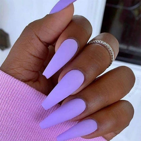 Purple Rain Matte Long Ballerina *Ready To Ship* - TheNailsClub