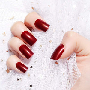 Wine red sparkly Medium square - TheNailsClub