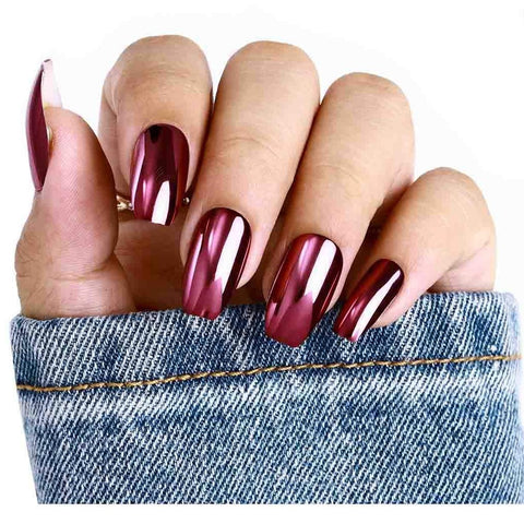 "Metallic Punk Pink Medium Coffin ""Ready to Ship"" - TheNailsClub"