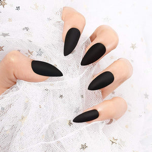 Black Winter Medium Matte Stiletto *Ready to Ship* - TheNailsClub