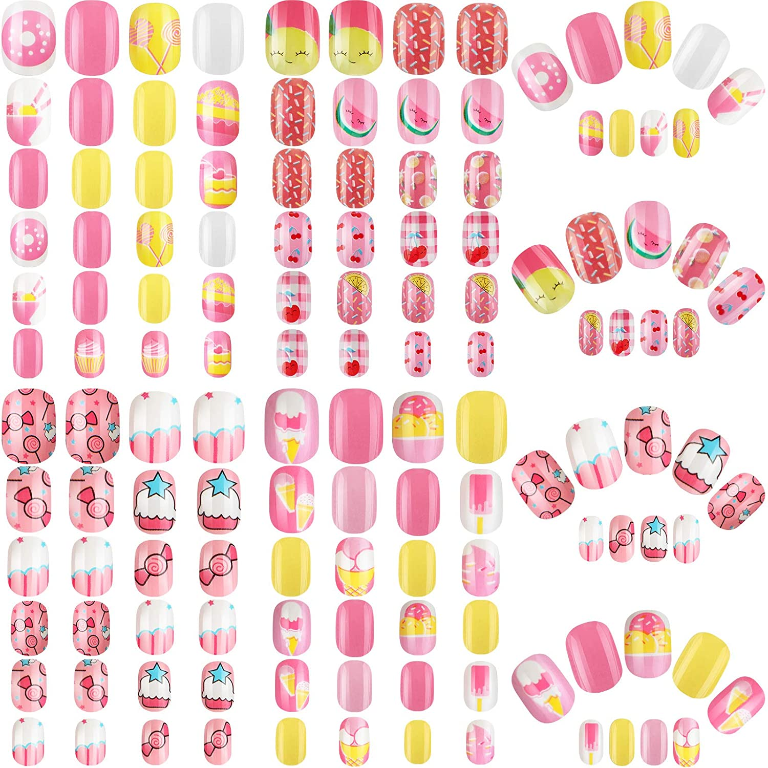 "96 Pieces 4 Boxes Kids Press on Nails short Square, ""Ready to Ship"" - TheNailsClub"
