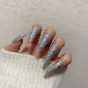 Glitter silver Long Ballerina *Ready To Ship* - TheNailsClub