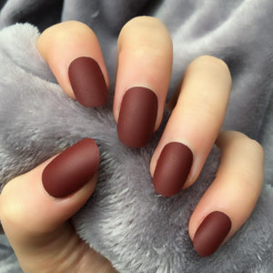 """Simple collection"" Maroon matte Oval ""Ready to Ship"" - TheNailsClub"