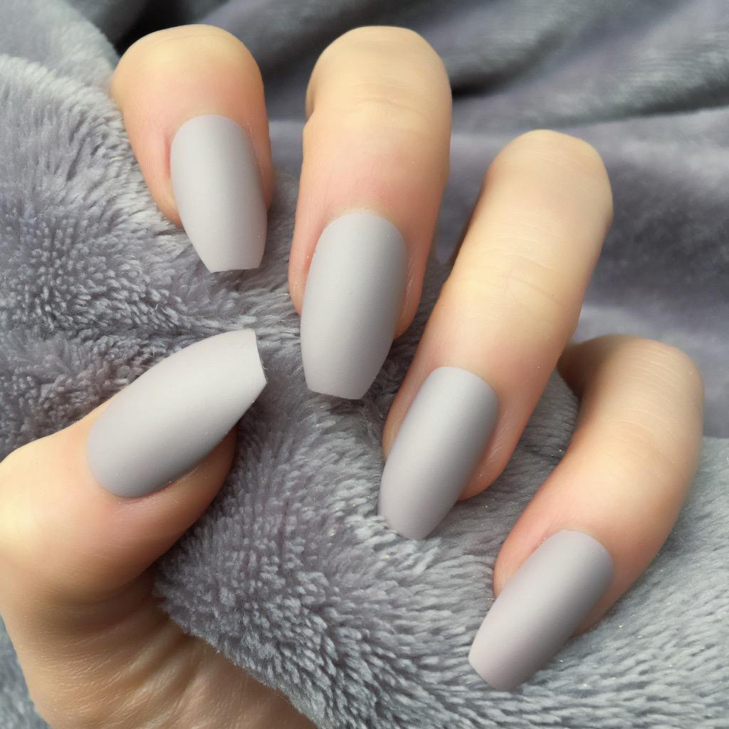 "Light Grey Matte Medium Coffin ""Ready to Ship"" - TheNailsClub"