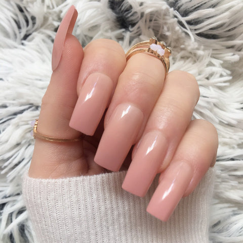 """Simple collection"" Nude Long Square ""Ready to Ship"" - TheNailsClub"