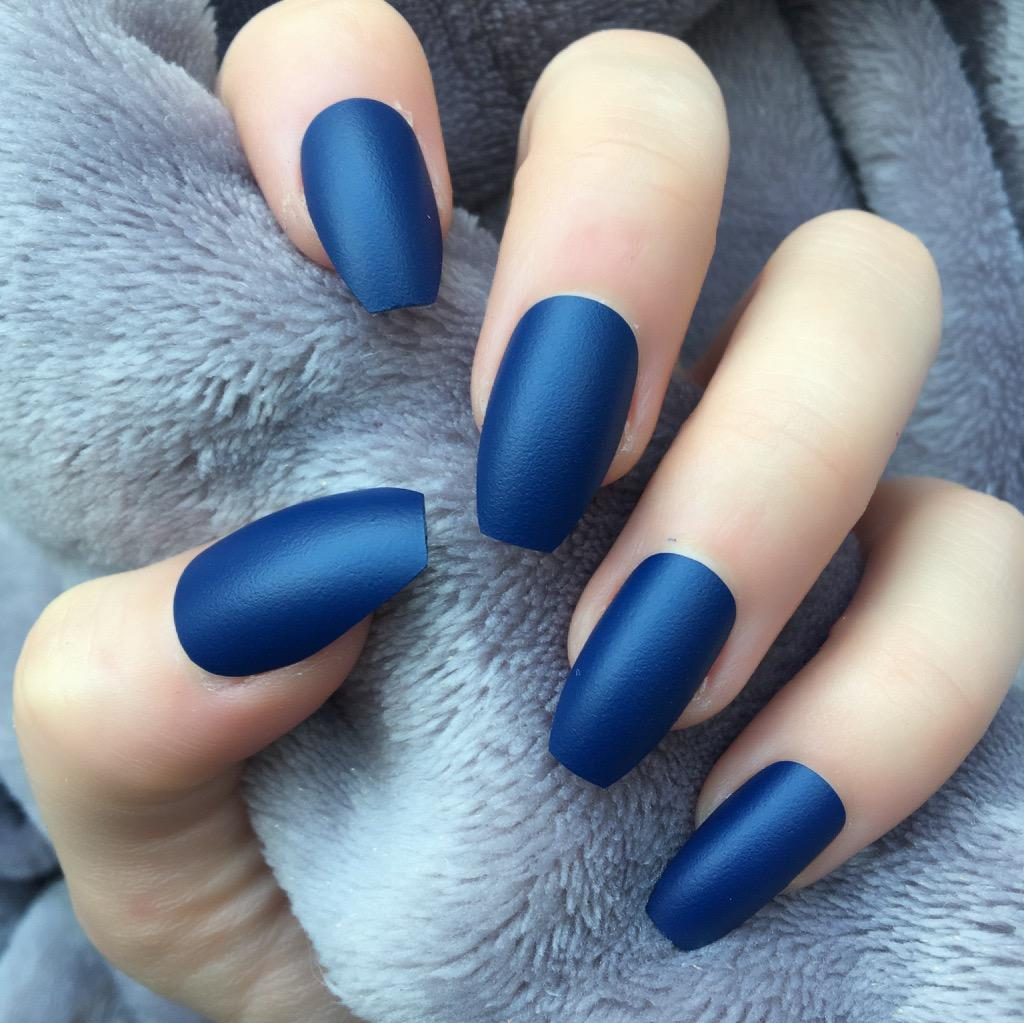 "Matte Dark Blue Medium coffin ""Ready to Ship"" - TheNailsClub"