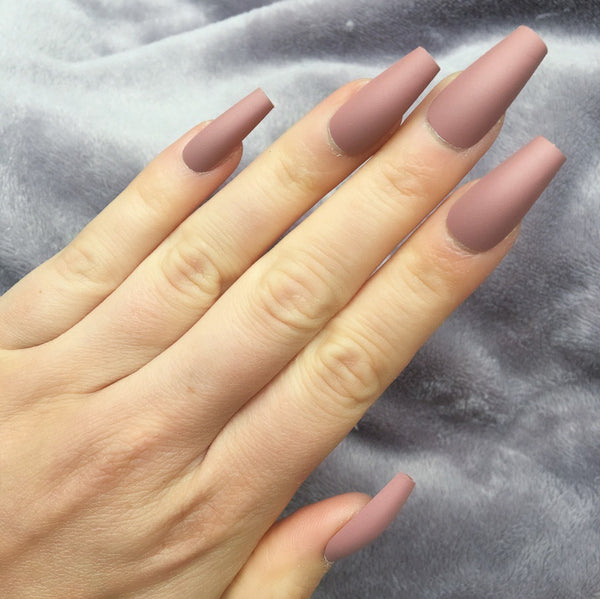 "Pink Nude Matte Medium Ballerina ""Ready to Ship"" - TheNailsClub"