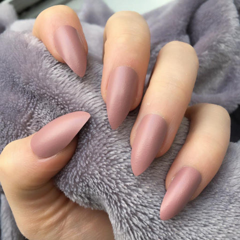 """Simple collection"" Nude matte Stiletto ""Ready to Ship"" - TheNailsClub"