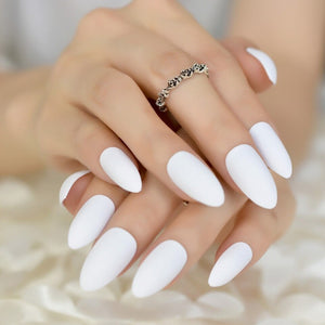 White Pure Matte Medium Almond - TheNailsClub
