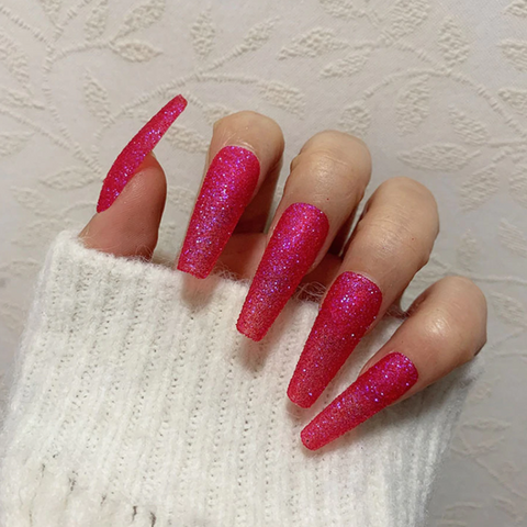 Berry Pink Glitter Long Ballerina *Ready To Ship* - TheNailsClub