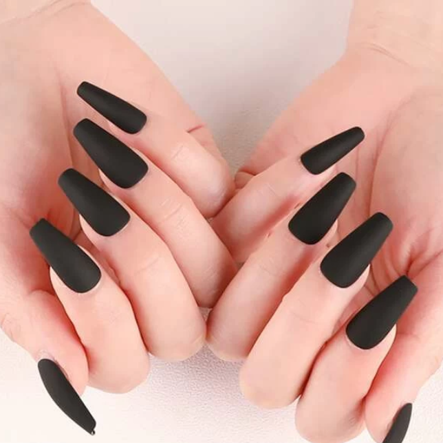 """Simple collection"" Matte black Ballerina Medium ""Ready to Ship"" - TheNailsClub"