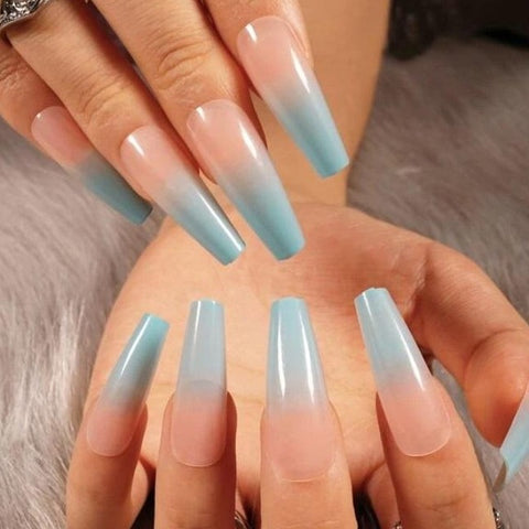 "Blue Ombre long Square ""Ready to Ship"" - TheNailsClub"