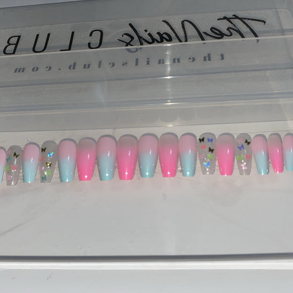 "Butterfly Ombre Medium Ballerina ""Ready to Ship"" - TheNailsClub"