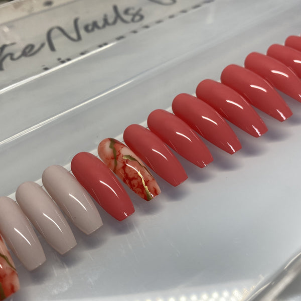 "Red Marble Long Coffin ""Ready to Ship"" - TheNailsClub"