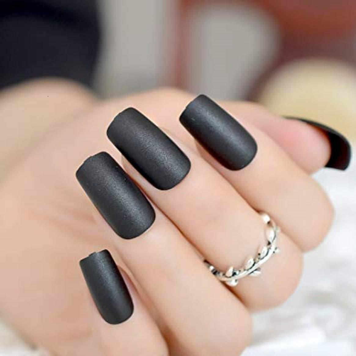 """Simple collection"" Black Matte Square ""Ready to Ship"" - TheNailsClub"