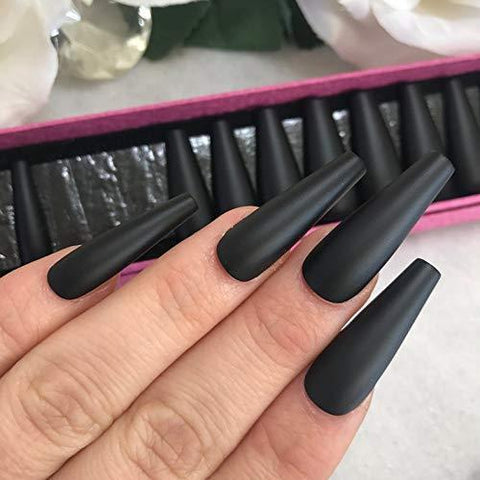 Long matte black Ballerina Ready to Ship - TheNailsClub