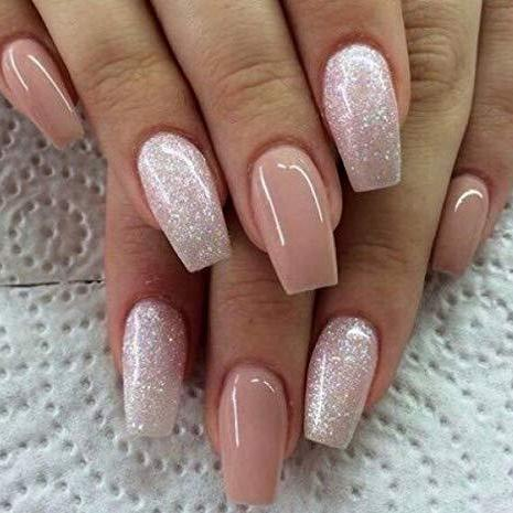 Pink Nude and Glitter Medium Ballerina - TheNailsClub