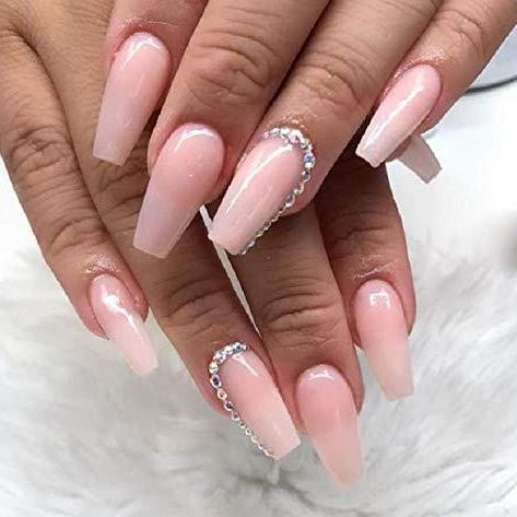 Milky pink and crystals Medium Ballerina - TheNailsClub