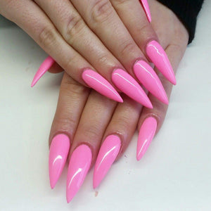 Press on False Nails Luxury glossy Pink Long Stiletto - TheNailsClub