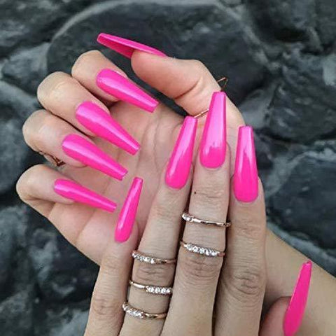 Bright pink Long Ballerina - TheNailsClub