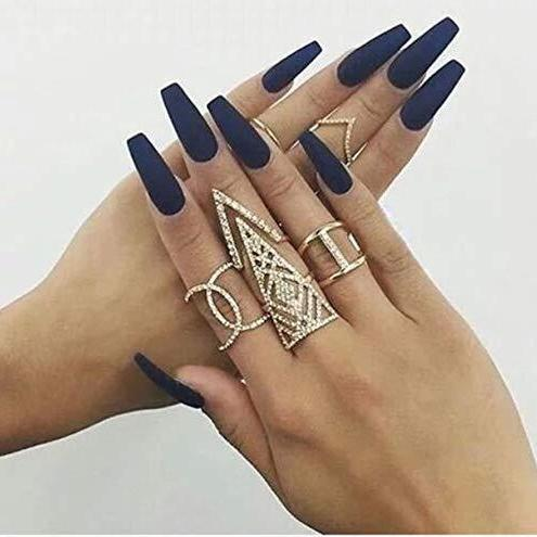 Matte navy blue Long Ballerina - TheNailsClub