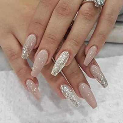Luxury nude and glitter glossy Coffin - TheNailsClub