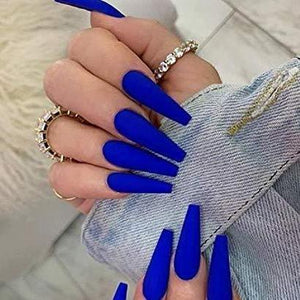 """Quarantine"" Bright Blue matte Long Ballerina ""Ready to Ship"" - TheNailsClub"