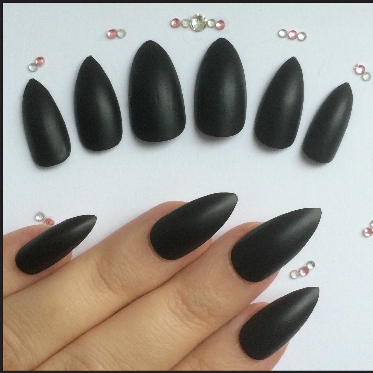 "Naughty Medium Stiletto Matte ""Ready to Ship"" - TheNailsClub"