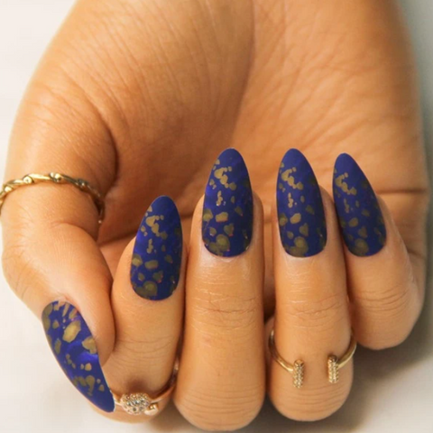 "Gold & Navy Medium Stiletto ""Ready to Ship"" - TheNailsClub"