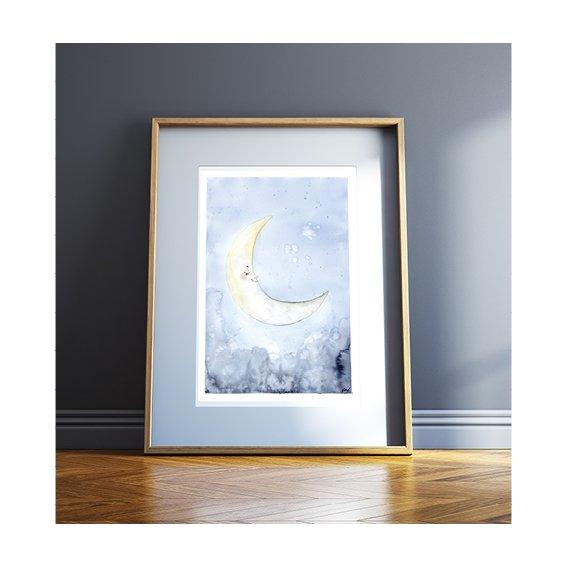 Kunstdruck - SLEEPY MOON Kunstdruck Leo la Douce