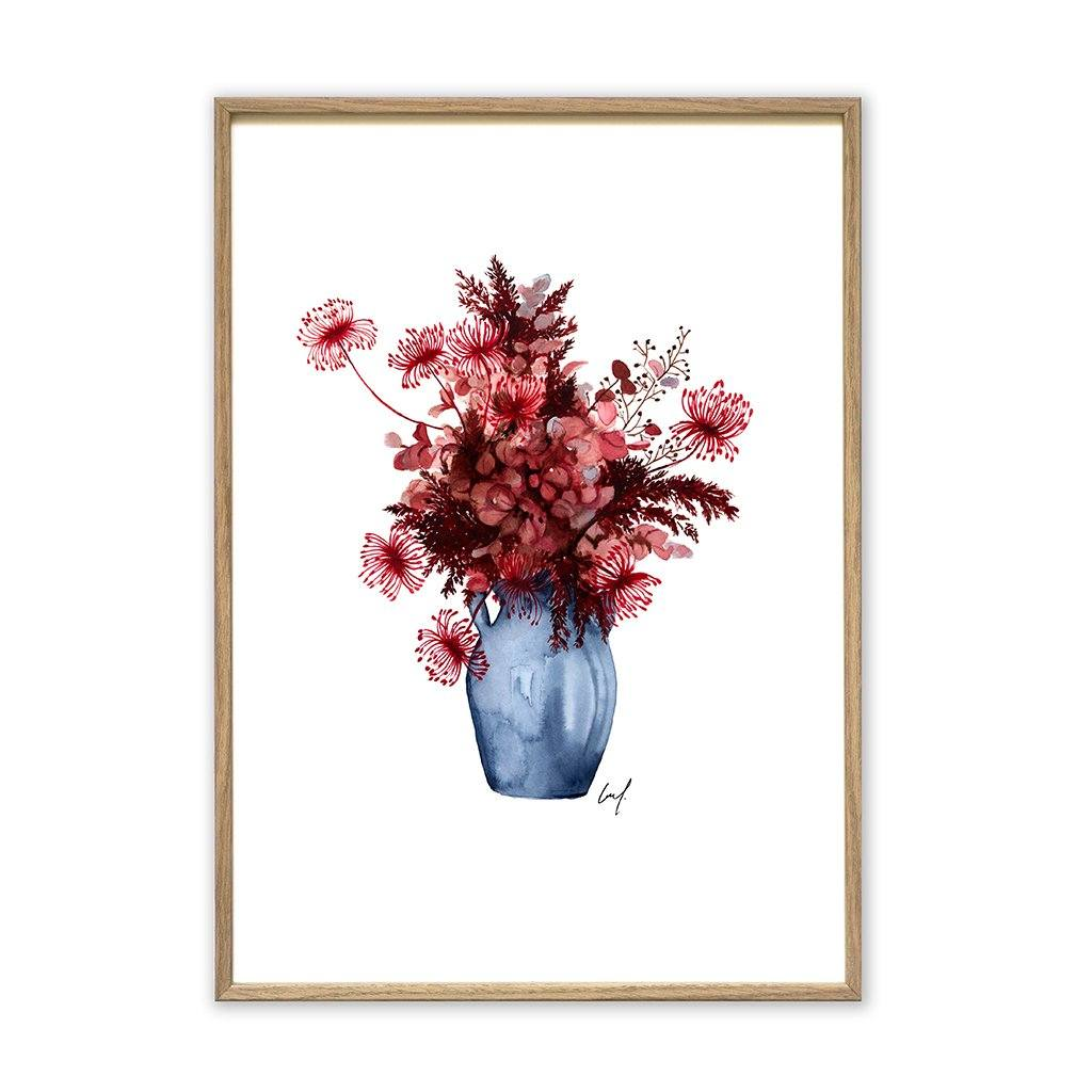 Kunstdruck - Red Autumn Flowers Kunstdruck Leo la Douce