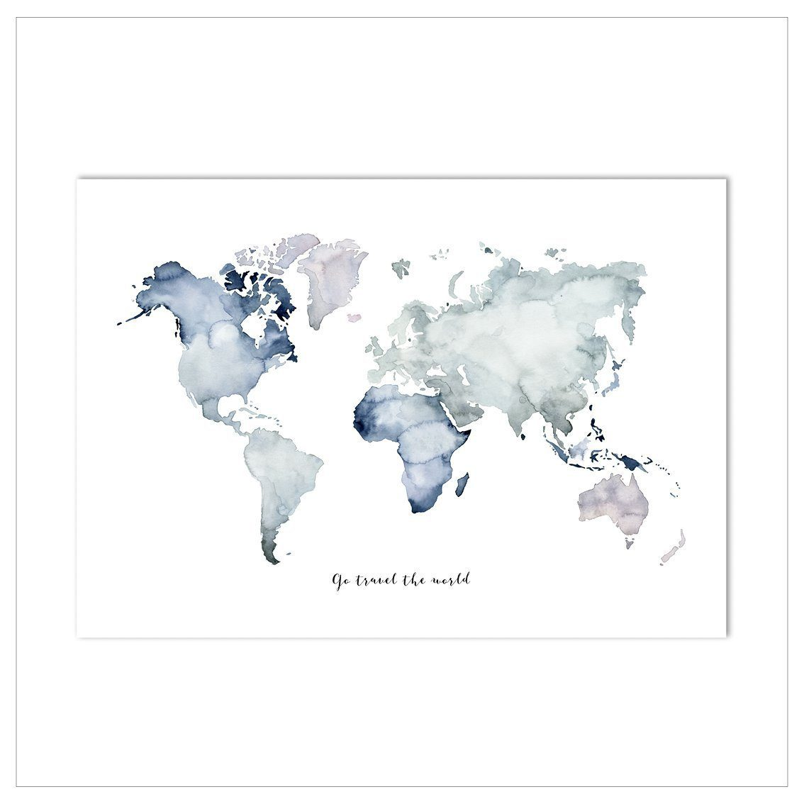 Kunstdruck - WELTKARTE | GO TRAVEL THE WORLD Kunstdruck Leo la Douce