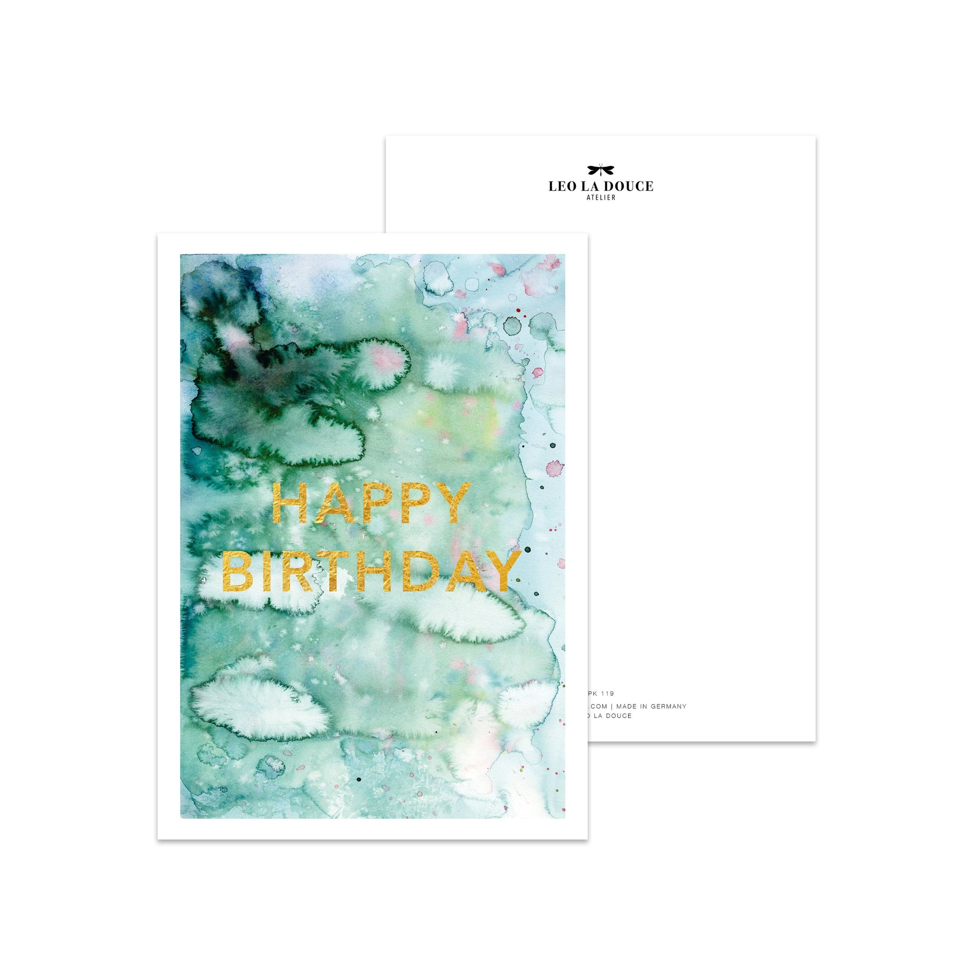 Postkarte - HAPPY BIRTHDAY GOLDFOIL Postkarte Leo la Douce