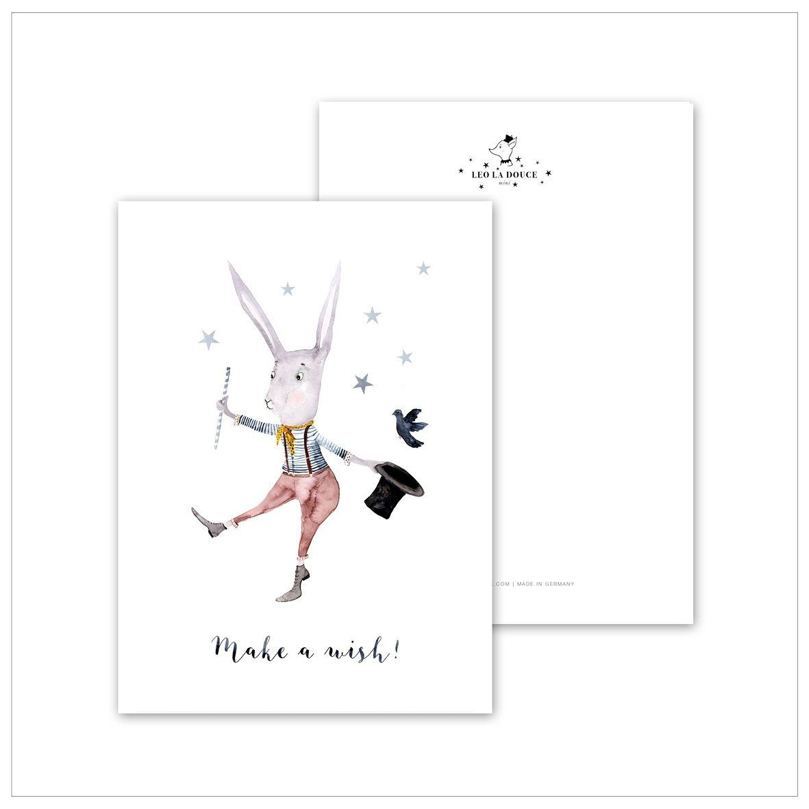 Postkarte - MAKE A WISH (RABBIT) Leo la Douce