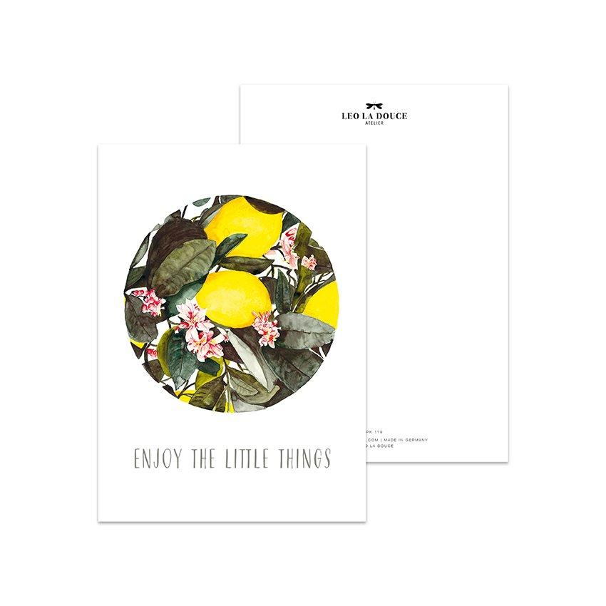 Postkarte - ENJOY THE LITTLE THINGS Postkarte Leo la Douce