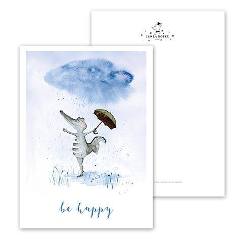 Postkarte - BE HAPPY CROCODILE Postkarte Leo la Douce