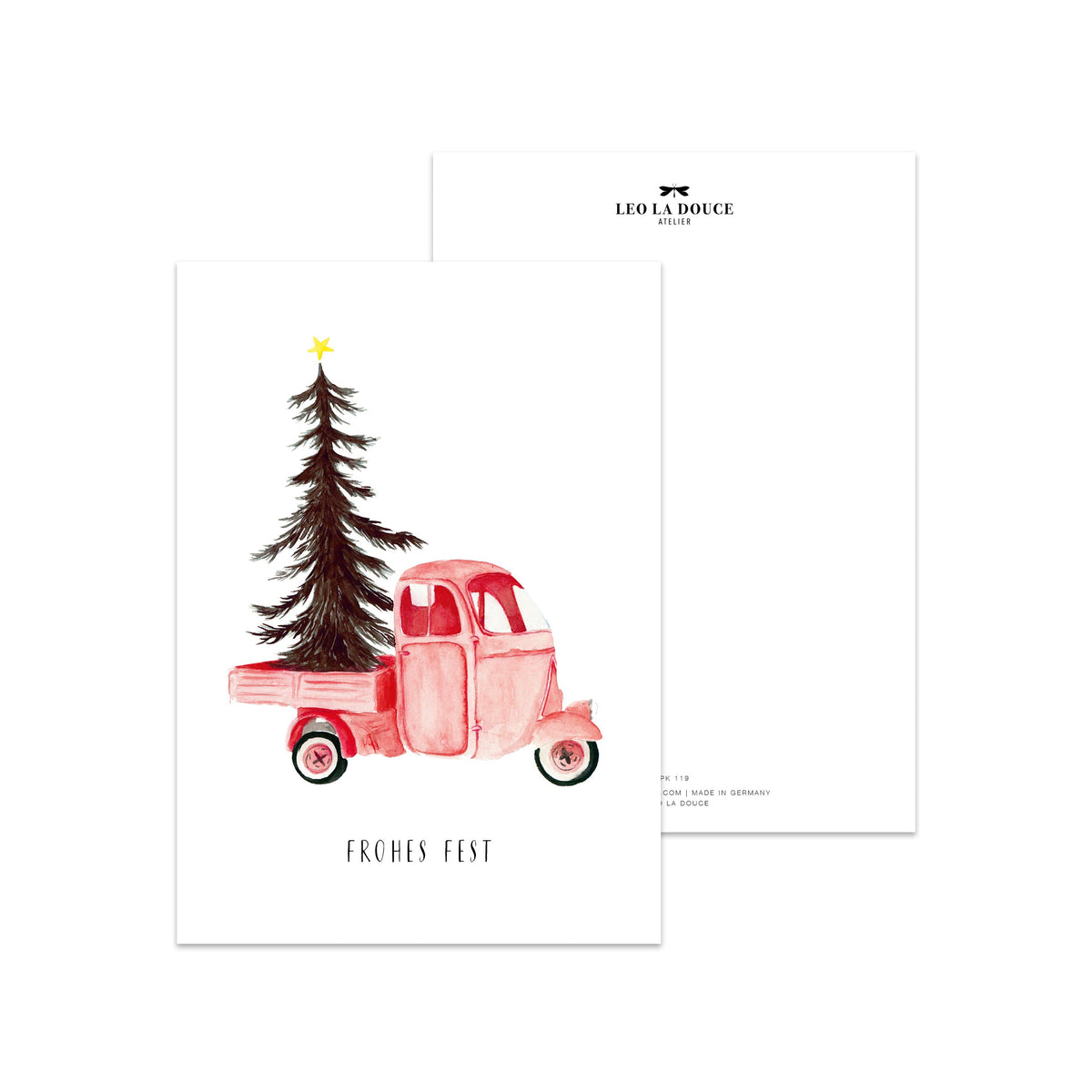Postkarte · CHRISTMAS VEHICLE Postkarte Leo la Douce