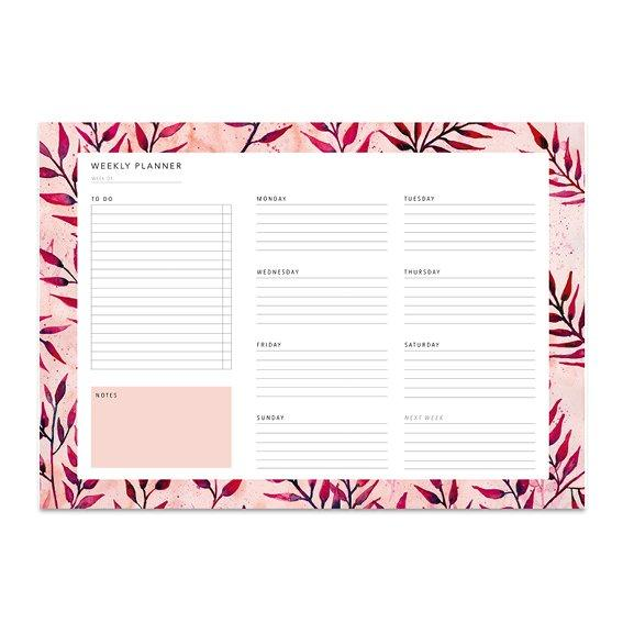 Weekly Planner - SUMMER LEAVES - A4 Wochenplaner Leo la Douce