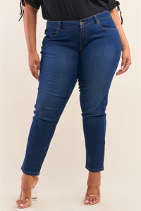 Plus Size Low-mid Rise Straight Cut Denim Pants