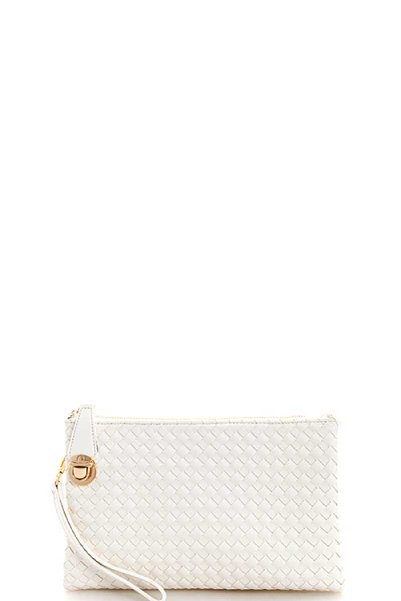 Fashion Cute Trendy Woven Clutch Crossbody Bag With Two