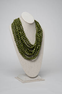 Fiesta Necklace Solitaire Cut - Olive - Necklace