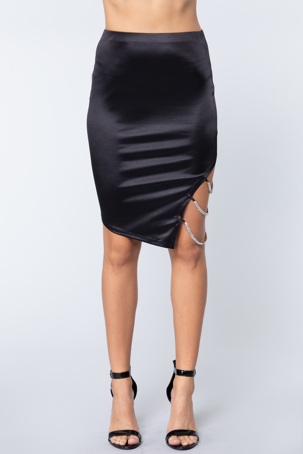 Jewel Strap Satin Midi Skirt