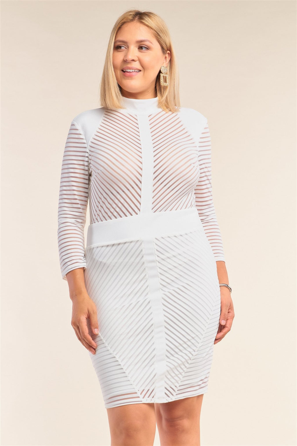 Long Sleeve Chevron Sheer Bodycon Dress